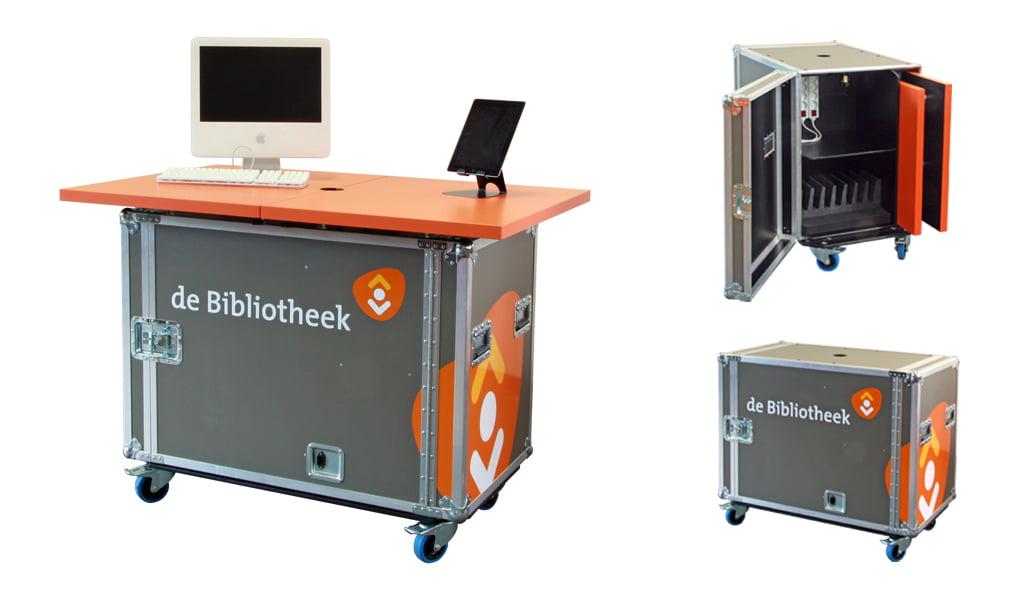 Populair bij bibliotheken: de Mediabar Mobiel, voor promotie van media op iPad's, E-readers, digitale camera's en computers.