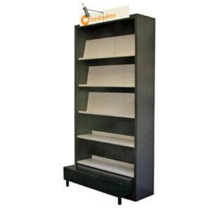 Boekenkast Metaal Wandmeubel H=2100mm is een stalen wandmeubel voor het presenteren van vijf meter boeken. Door toepassing van dubbele rijgatboring en breed aanbod aan schappen en accessoires is de kast naar wens samen te stellen.